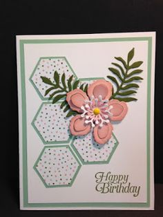Botanical Builder, Hexagon Punch, Birthday Card, Stampin' Up!, Rubber Stamping, Handmade Cards