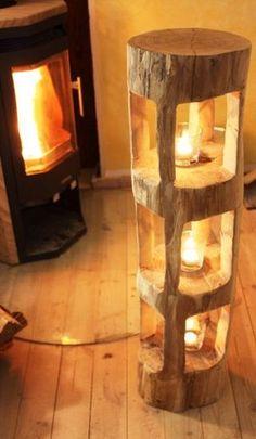 Deko Holzbalken Windlicht Laterne Stele Skulptur Holz Sauna Innendeko Rarität