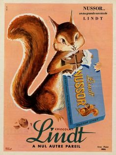 Vintage ads food:  Lindt (Chocolates) 1956 Fillios, Squirrel...................................................................Please save this pin... ........................................................... Visit!.. http://www.ebay.com/usr/prestige_online