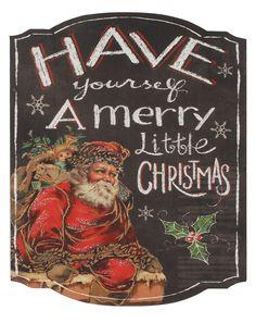 Merry Little Christmas Santa Sign (Set of 4)