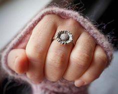 Sunflower Ring - Boho Ring - Hippie Ring - Silver Flower - Bohemian Jewelry - Flower Ring - Sterling Silver Ring for Women