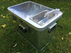 """The new """"Starter camping box is a high-quality all-aluminum box with 1 mm thick aluminum side walls, it measures 57 cm wide, 38 cm deep and 36 cm high. The box is the entry into the cam Auto Camping, Camping Diy, Rv Camping Checklist, Minivan Camping, Truck Camping, Camping Hacks, Outdoor Camping, Camping Gear, Truck Cap Camper"""