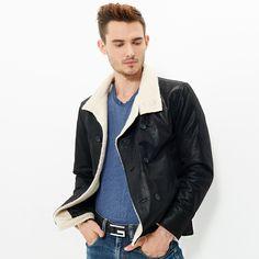 Pas cher 2016 Hommes veste en cuir véritable peau de porc de moto Véritable…