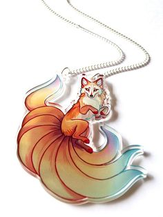 9495092fb0 Nine Tailed Kitsune Clear Acrylic Necklace Fox Drawing