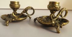 Antique Pair Of Brass Chamberstick  Candle Holders