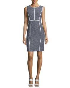 TBT1H Lafayette 148 New York Mariana Sleeveless Tweed Sheath Dress