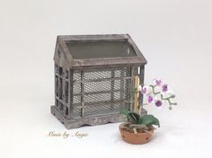 Tabletop greenhouse. Dollhouse miniature rustic greenhouse. by MinisbyAngie on Etsy