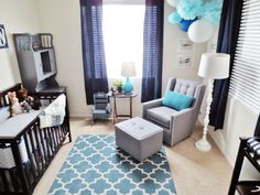 gray and blue baby room | My baby boys nursery. Dark blue, gray and teal. Mine has a hint of lime too.