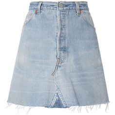 Re/Done Women's High-Rise Mini Skirt (4,580 MXN) ❤ liked on Polyvore featuring skirts, mini skirts, bottoms, denim, blue mini skirt, high waisted mini skirt, high waisted short skirts, button skirt and blue high waisted skirt