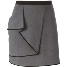 Armani Jeans Wraparound Skirt ($161) ❤ liked on Polyvore featuring skirts, grey, wraparound skirt, gray skirt, wrap skirt, grey skirt and wrap around skirt
