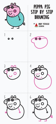 How to draw Daddy pig step by step. Easy drawing Peppa pig family - amazing drawing video drawings colorful How to draw Daddy pig step by step Cute Easy Drawings, Art Drawings For Kids, Drawing For Kids, Art For Kids, Drawing Art, Peppa Pig Familie, Peppa Pig Drawing, Peppa Pig Wallpaper, Pranks