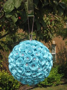 Turquoise Card Stock Rose Kissing Ball with Pink Pearls and Ribbon - pinned by pin4etsy.com