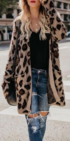 Collarless Flap Pocket Leopard Printed Outerwear Leopard Print s Leopard Print Outfits, Leopard Print Cardigan, Fall Winter Outfits, Autumn Winter Fashion, Autumn Style, Winter Style, Shopping Outfits, Mode Cool, Quoi Porter