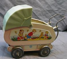 Vintage Tin Ohio Art Doll Buggy Carriage Toy with Bedding | eBay