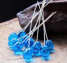Sterling Silver Lampwork Glass Headpins  Teardrop by NadinArtGlass, $12.00
