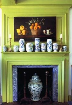 Colourful green mantle with blue and white accents in Connecticut home. Annie Kelly book with photo by Timothy Street-Porter. Interior Design Books, Book Design, American Houses, Hearth And Home, Aix En Provence, Fireplace Surrounds, My Living Room, Country Decor, Country Living