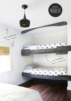 Bunk beds in large closet space {I changed my mind. I'm going to do this instead of the fold up beds. The beds take up the most space in the room and the closet space isn't fully used. I could easily put a wardrobe in the room to hold hang-up clothes. Safe Bunk Beds, Bunk Beds Built In, Bunk Beds With Stairs, Kids Bunk Beds, Fold Up Beds, Triple Bunk Beds, Bunk Bed Designs, Murphy Bed Plans, Loft Spaces
