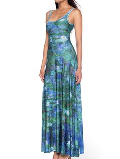 Blue Water Lilies Maxi Dress (AU $140AUD) by Black Milk Clothing