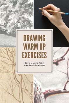 Warm Up Exercises for Drawing - Carrie L. Lewis, Artist These are some great ideas that can be easily adapted to use in the art classroom for drawing warm ups! Drawing Skills, Drawing Lessons, Drawing Techniques, Drawing Tips, Art Lessons, Painting & Drawing, Learn Drawing, Sketching Tips, Drawing Practice