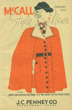 The chic matching cape and dress ensemble adorned cover of the February 1936 edition of McCall Style News.