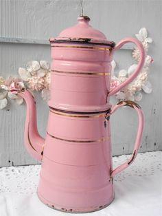 Fabulous Vintage French Antique Enamel Pink Coffeepot
