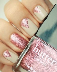 Sparkly pink nails.