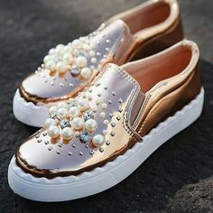 Rose gold + pearl patent slip-on sneaker Pretty Shoes, Beautiful Shoes, Cute Shoes, Me Too Shoes, Gold Sneakers, Sneakers Fashion, Fashion Shoes, Shoes Sneakers, Shoe Boots