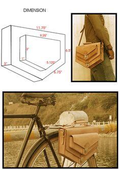 Handmade natural traditional veg tanned leather bicycle rear pannier/rear rack/ messenger bag.via Etsy.
