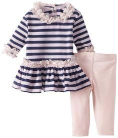 Pippa & Julie Baby-Girls Newborn Striped Ruffled Set:Amazon:Clothing
