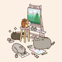 Pusheen the cat Gato Pusheen, Pusheen Love, Pusheen Stuff, Chat Kawaii, Kawaii Art, Pusheen Stormy, Cute Kawaii Drawings, Kawaii Wallpaper, Animal Drawings