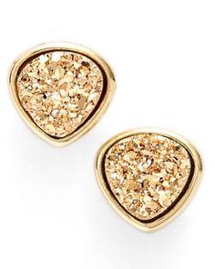 fun gold drusy stud earrings