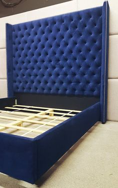 52 More Home Decor Bedroom Headboard Custom Headboard, Tall Headboard, Tufted Bed, Headboard Designs, Upholstered Beds, Headboards For Beds, Wingback Headboard, Upholstered Wall Panels, Blue Bedding