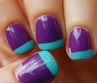 Modern/funky French Tip Manicure. Old-classic french tip manicure with a twist to it: http://ladyfrogblog.blogspot.mx/2011/11/modernfunky-french-tip-manicure.html