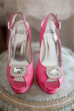 A Spectrum of Gorgeously Pink Wedding Ideas - wedding shoes; Mike Larson Photography