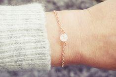 Quartz Bracelet | Single Bead Bracelet | Rose Gold Bracelet | Healing Bracelet Handmade Bracelets, Beaded Bracelets, Healing Bracelets, Men Necklace, Anklet, Quartz Crystal, Swarovski Crystals, Rose Gold, Gemstones