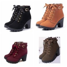 Thick Lace-Up Booties, $13
