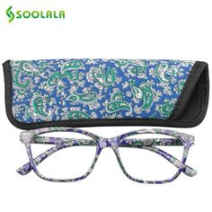 6918bba4139 SOOLALA Womens Mens Pocket Printed Reading Glasses with Matching Pouch  Cheap Spring Hinge Presbyopic Reading Glasses +1.0 to 4.0