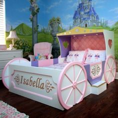 Unique Princess Room Decor | ... Hot Pink Unique Carriage Bed for Shared in Fairy Princess Themed Room