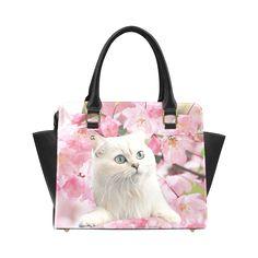Cat and Flowers Classic Shoulder Handbag. FREE Shipping. #artsadd #bags #cats