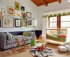 love everything about this kid's room: window treatment, fabric, colors, photo wall