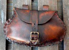Brown Medieval Belt Pouch Handstitched Leather SCA by PropCornShop, via Etsy.