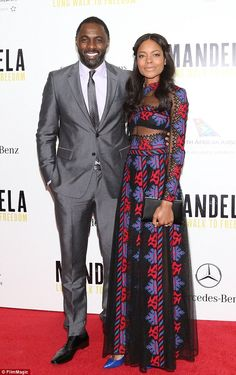 Tonic Dark Grey Two Piece Suit with Matching Spotted Tie and Black Leather Oxfords Alongside Naomi Harris Perfect Couple, Beautiful Couple, Idris Elba Wife, Actor Idris, Grey Two Piece, European Men, Daddys Little Girls, Pretty Outfits, Pretty Clothes