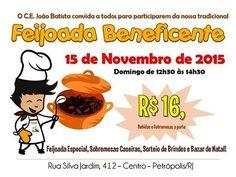 O Centro Espírita João Batista Convida para sua tradicional Feijoada Beneficente - Petrópolis - RJ - http://www.agendaespiritabrasil.com.br/2015/11/10/o-centro-espirita-joao-batista-convida-para-sua-tradicional-feijoada-beneficente-petropolis-rj/