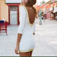 White dress, gold trim
