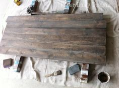 Aged weathered wood: stained dark walnut and then washed with watered-down gray chalk paint