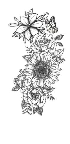 Flower Hip Tattoos, Hip Thigh Tattoos, Dope Tattoos, Sunflower Tattoos, Little Tattoos, Body Art Tattoos, Hand Tattoos, Sleeve Tattoos, Forarm Tattoos
