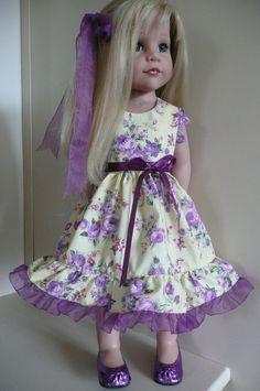 PIXIES:GOTZ HANNAH/DESIGNA FRIEND:yellow/violet Dress/Hair bow HAND MADE
