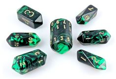 Oblivion Crystal RPG Dice, Role Playing Game Dice Set (Green)