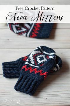FREE Crochet Pattern: Team USA Neva Mittens | Complete your set and make matching mittens for your Neva Hat! It's a fun way to support the Team USA Olympics Team!