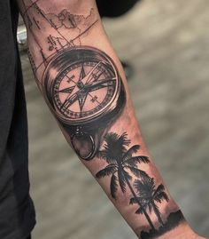 Your body is a blank canvas and the best tattoo designs will turn that canvas into a work of art. As such, you want a cool tattoo that em. Compass Tattoo Forearm, Half Sleeve Tattoos Forearm, Forarm Tattoos, Cool Forearm Tattoos, Best Sleeve Tattoos, Tattoo Font For Men, Cool Tattoos For Guys, Arm Tattoos For Women, Tattoo Arm Designs